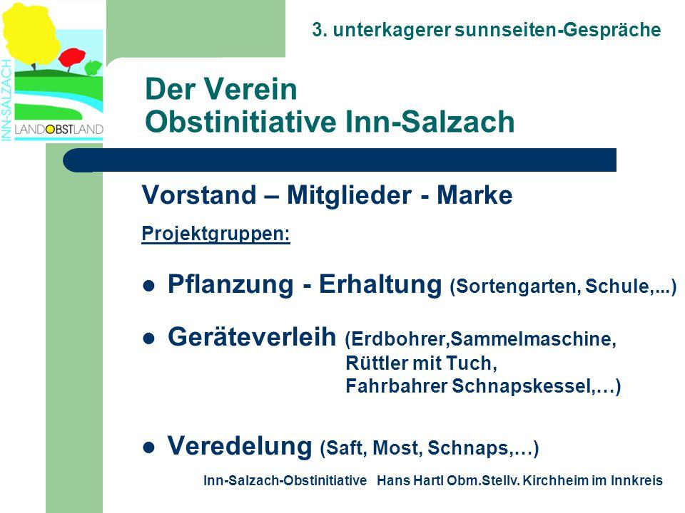 3. unterkagerer sunnseiten-Gespräche Inn-Salzach-Obstinitiative Hans Hartl Obm.Stellv. Kirchheim im Innkreis Der Verein Obstinitiative Inn-Salzach Vor