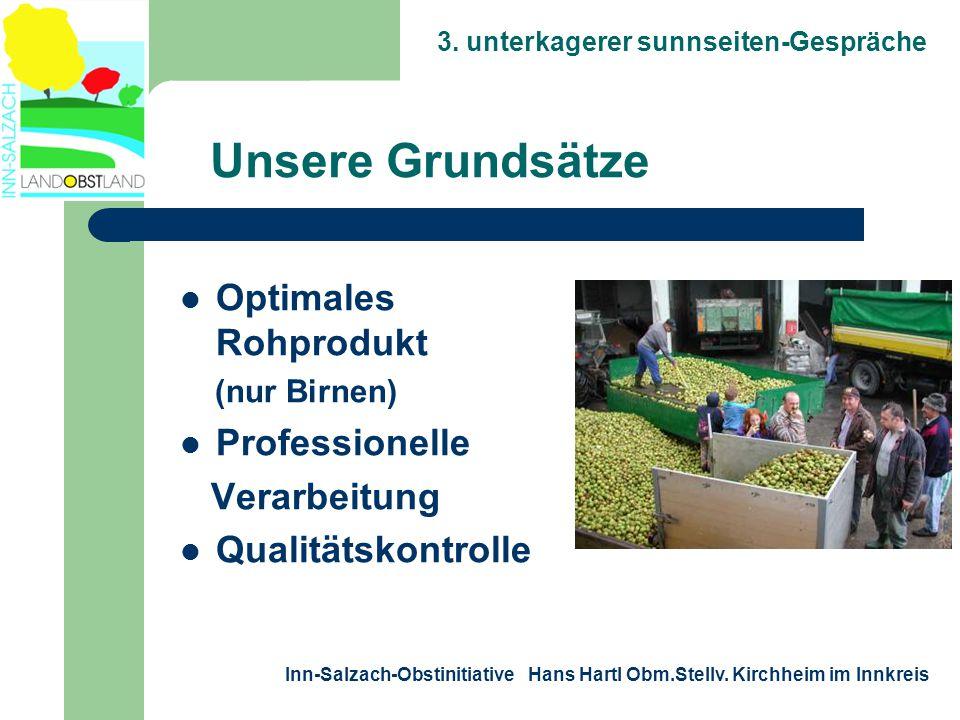 3. unterkagerer sunnseiten-Gespräche Inn-Salzach-Obstinitiative Hans Hartl Obm.Stellv. Kirchheim im Innkreis  Optimales Rohprodukt (nur Birnen)  Pro