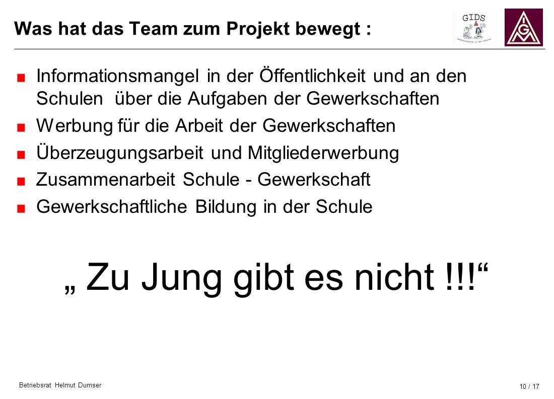 Betriebsrat Helmut Dumser 10 / 17 Was hat das Team zum Projekt bewegt : Informationsmangel in der Öffentlichkeit und an den Schulen über die Aufgaben