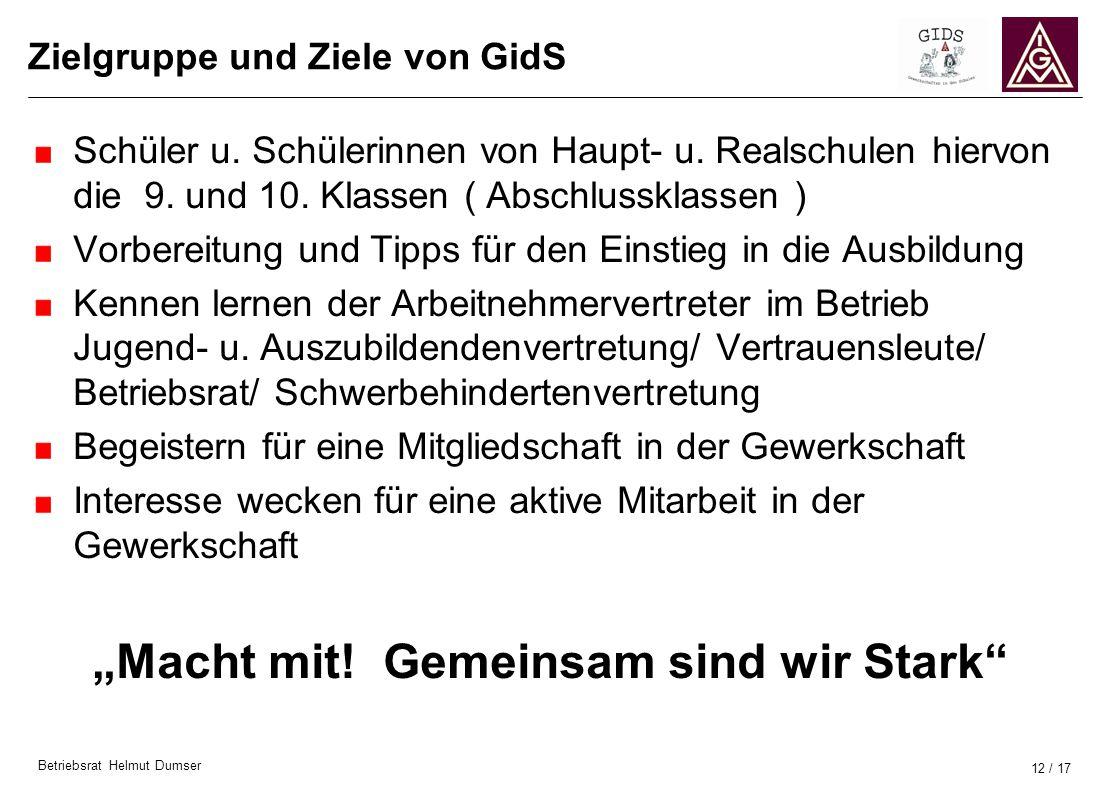 Betriebsrat Helmut Dumser 12 / 17 Zielgruppe und Ziele von GidS Schüler u. Schülerinnen von Haupt- u. Realschulen hiervon die 9. und 10. Klassen ( Abs
