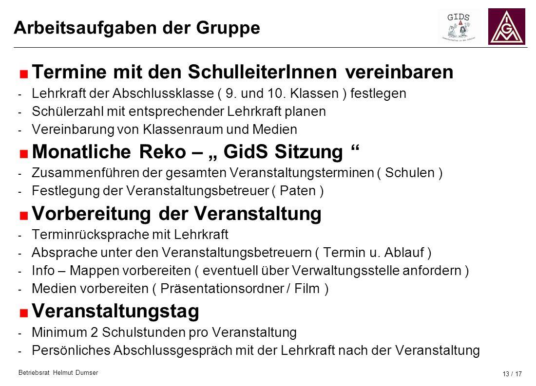 Betriebsrat Helmut Dumser 13 / 17 Arbeitsaufgaben der Gruppe Termine mit den SchulleiterInnen vereinbaren - Lehrkraft der Abschlussklasse ( 9. und 10.