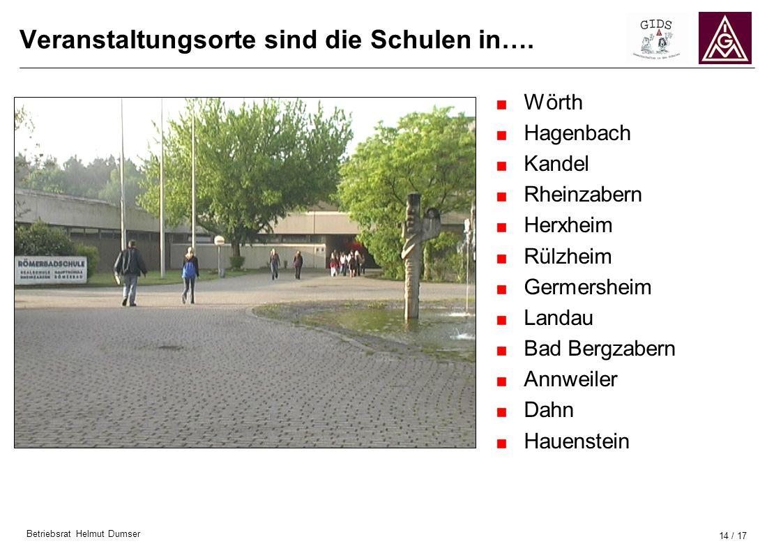 Betriebsrat Helmut Dumser 14 / 17 Veranstaltungsorte sind die Schulen in…. Wörth Hagenbach Kandel Rheinzabern Herxheim Rülzheim Germersheim Landau Bad