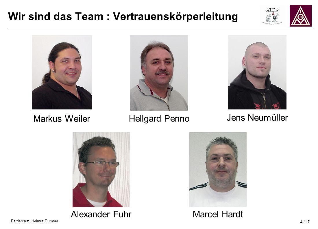 Betriebsrat Helmut Dumser 4 / 17 Wir sind das Team : Vertrauenskörperleitung Markus Weiler Hellgard Penno Jens Neumüller Alexander FuhrMarcel Hardt