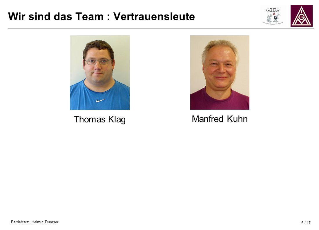 Betriebsrat Helmut Dumser 5 / 17 Wir sind das Team : Vertrauensleute Thomas Klag Manfred Kuhn
