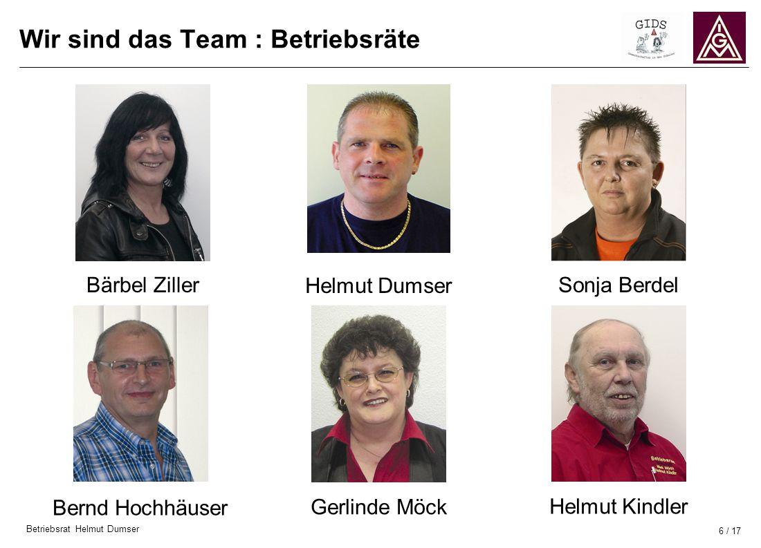 Betriebsrat Helmut Dumser 6 / 17 Bärbel Ziller Wir sind das Team : Betriebsräte Sonja Berdel Bernd Hochhäuser Helmut KindlerHelmut Dumser Gerlinde Möc