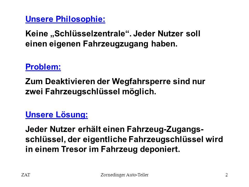 """ZATZornedinger Auto-Teiler2 Unsere Philosophie: Keine """"Schlüsselzentrale"""". Jeder Nutzer soll einen eigenen Fahrzeugzugang haben. Problem: Zum Deaktivi"""