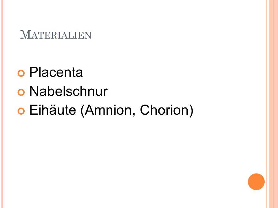 M ATERIALIEN Placenta Nabelschnur Eihäute (Amnion, Chorion)