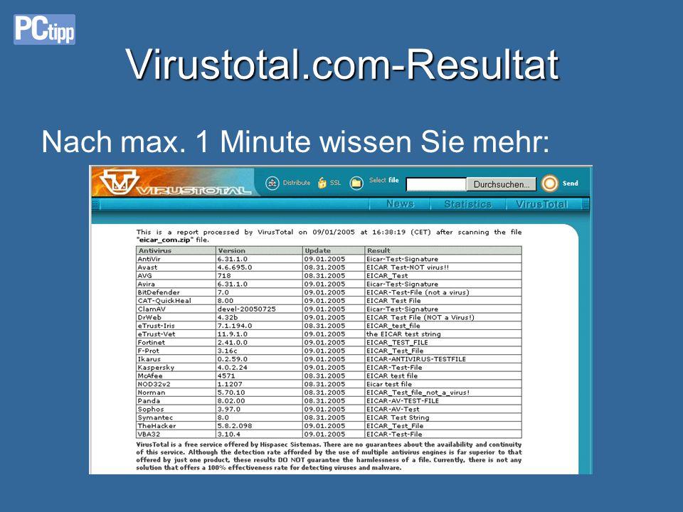 Virustotal.com: So gehts Datei bei www.virustotal.com «einwerfen»: