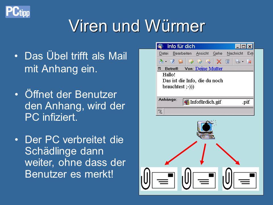 Viren und Würmer •Das Übel trifft als Mail mit Anhang ein.