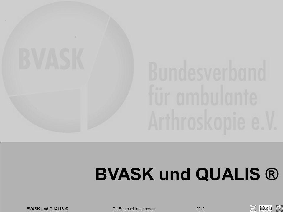 Dr. Emanuel Ingenhoven 2010 BVASK und QUALIS ® Dr. Emanuel Ingenhoven 2010 BVASK und QUALIS ®