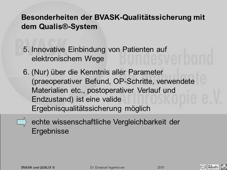 Dr. Emanuel Ingenhoven 2010 BVASK und QUALIS ® Dr. Emanuel Ingenhoven 2010 Besonderheiten der BVASK-Qualitätssicherung mit dem Qualis®-System 5. Innov