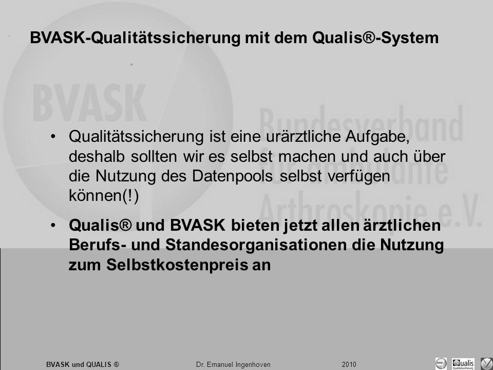 Dr. Emanuel Ingenhoven 2010 BVASK und QUALIS ® Dr. Emanuel Ingenhoven 2010 BVASK-Qualitätssicherung mit dem Qualis®-System •Qualitätssicherung ist ein