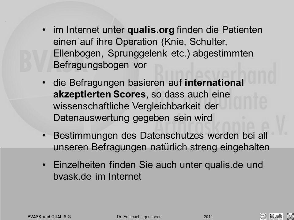 Dr. Emanuel Ingenhoven 2010 BVASK und QUALIS ® Dr. Emanuel Ingenhoven 2010 •im Internet unter qualis.org finden die Patienten einen auf ihre Operation