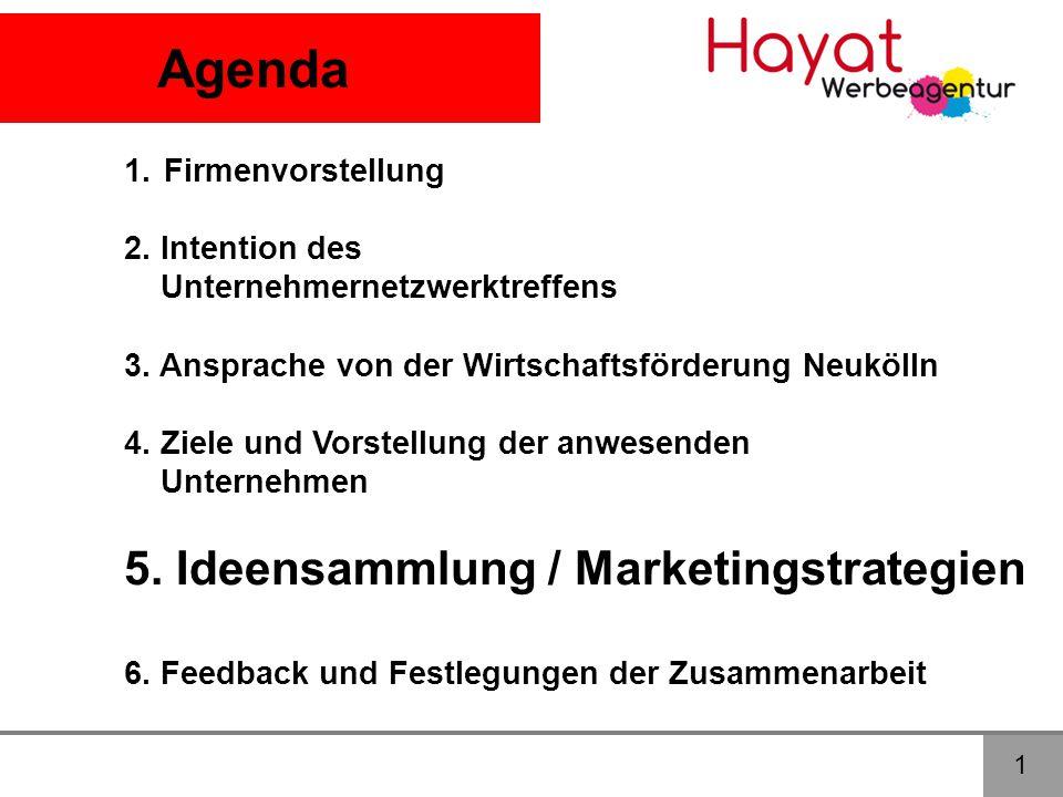 Agenda 1.Firmenvorstellung 2. Intention des Unternehmernetzwerktreffens 3. Ansprache von der Wirtschaftsförderung Neukölln 4. Ziele und Vorstellung de