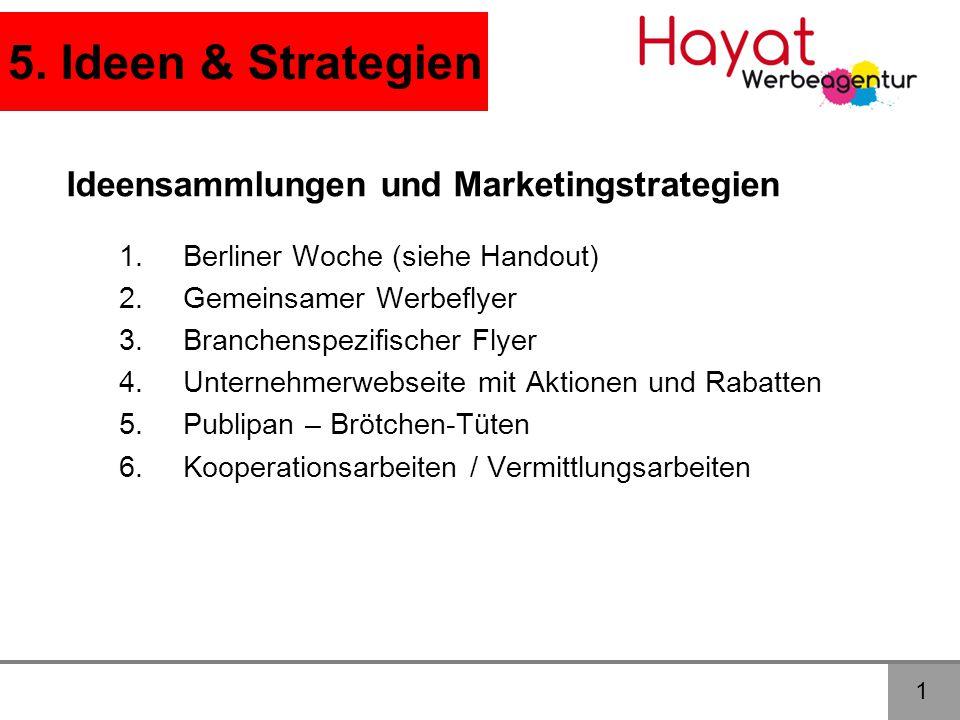 5. Ideen & Strategien 1 Ideensammlungen und Marketingstrategien 1.Berliner Woche (siehe Handout) 2.Gemeinsamer Werbeflyer 3.Branchenspezifischer Flyer