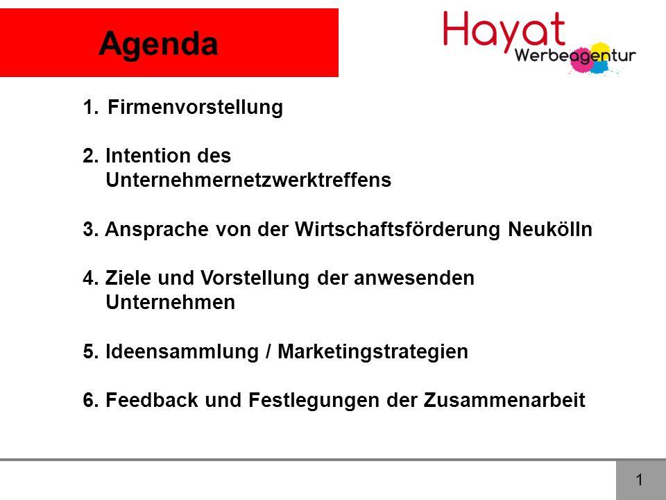 Agenda 1.Firmenvorstellung 2.Intention des Unternehmernetzwerktreffens 3.