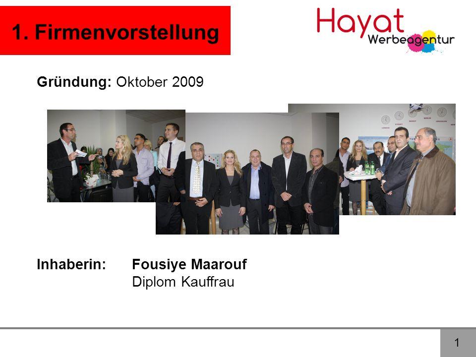 1 1. Firmenvorstellung Gründung: Oktober 2009 Inhaberin:Fousiye Maarouf Diplom Kauffrau