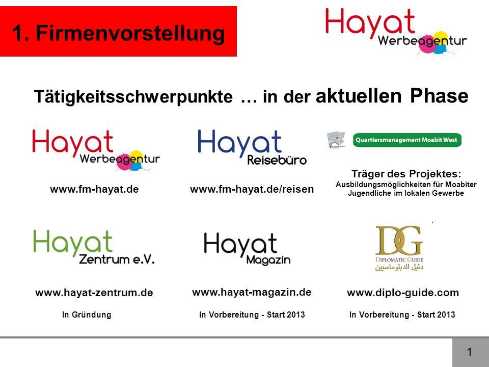 1 1. Firmenvorstellung Tätigkeitsschwerpunkte … in der aktuellen Phase www.hayat-magazin.de www.hayat-zentrum.de www.diplo-guide.com In Gründung www.f