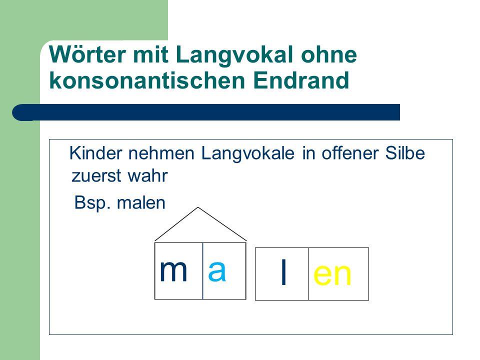 Wörter mit Langvokal ohne konsonantischen Endrand Kinder nehmen Langvokale in offener Silbe zuerst wahr Bsp. malen len ma