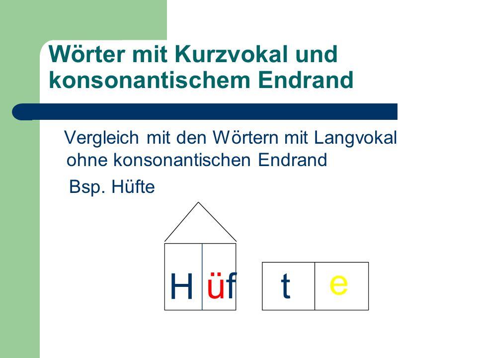 Wörter mit Kurzvokal und konsonantischem Endrand Vergleich mit den Wörtern mit Langvokal ohne konsonantischen Endrand Bsp. Hüfte H üfüf e t