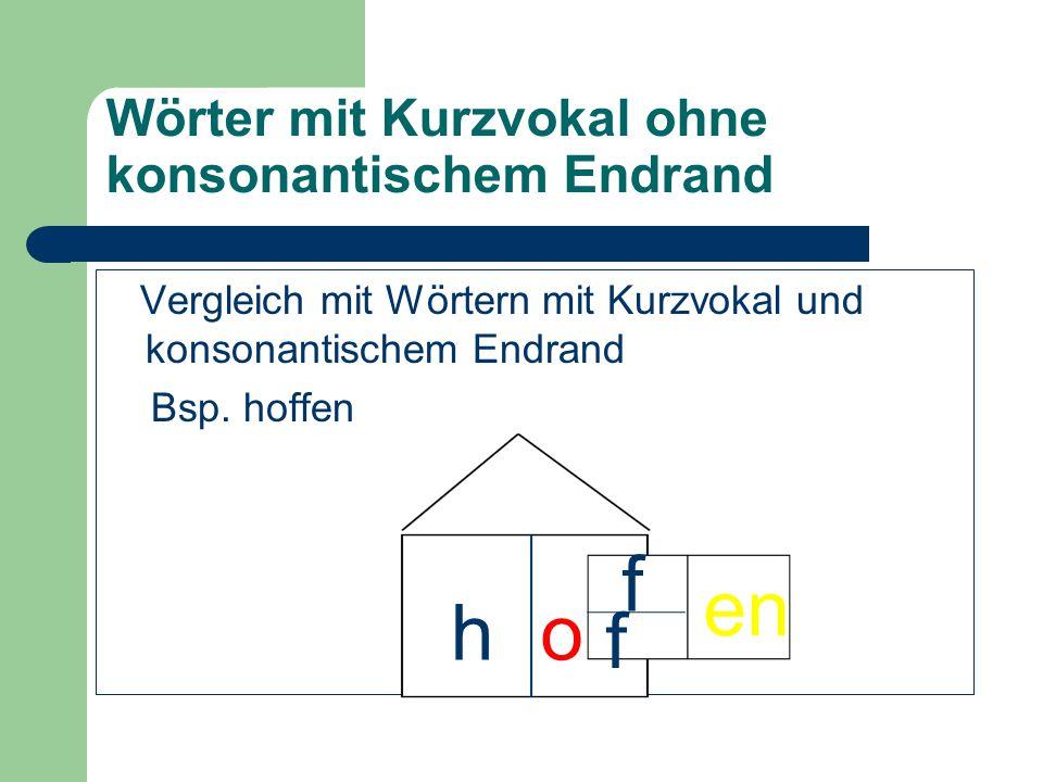 Wörter mit Kurzvokal ohne konsonantischem Endrand Vergleich mit Wörtern mit Kurzvokal und konsonantischem Endrand Bsp. hoffen ho f f en