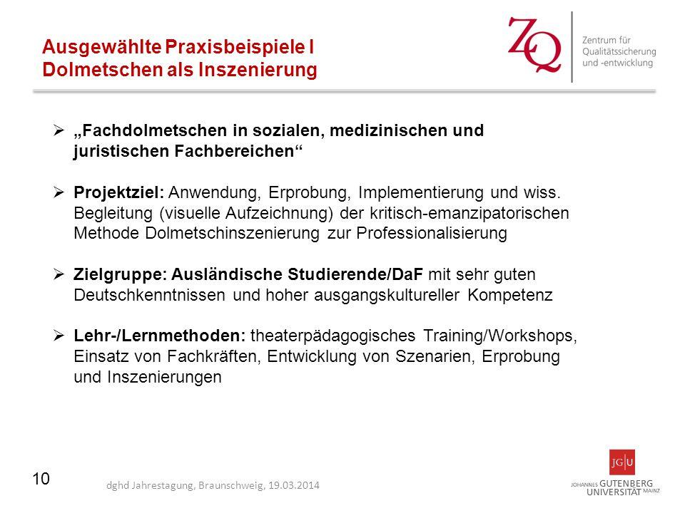 """10 Ausgewählte Praxisbeispiele I Dolmetschen als Inszenierung  """"Fachdolmetschen in sozialen, medizinischen und juristischen Fachbereichen""""  Projektz"""