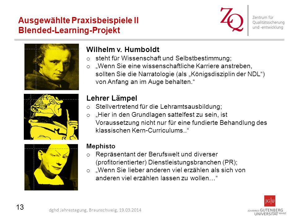 13 Ausgewählte Praxisbeispiele II Blended-Learning-Projekt dghd Jahrestagung, Braunschweig, 19.03.2014 Wilhelm v. Humboldt o steht für Wissenschaft un