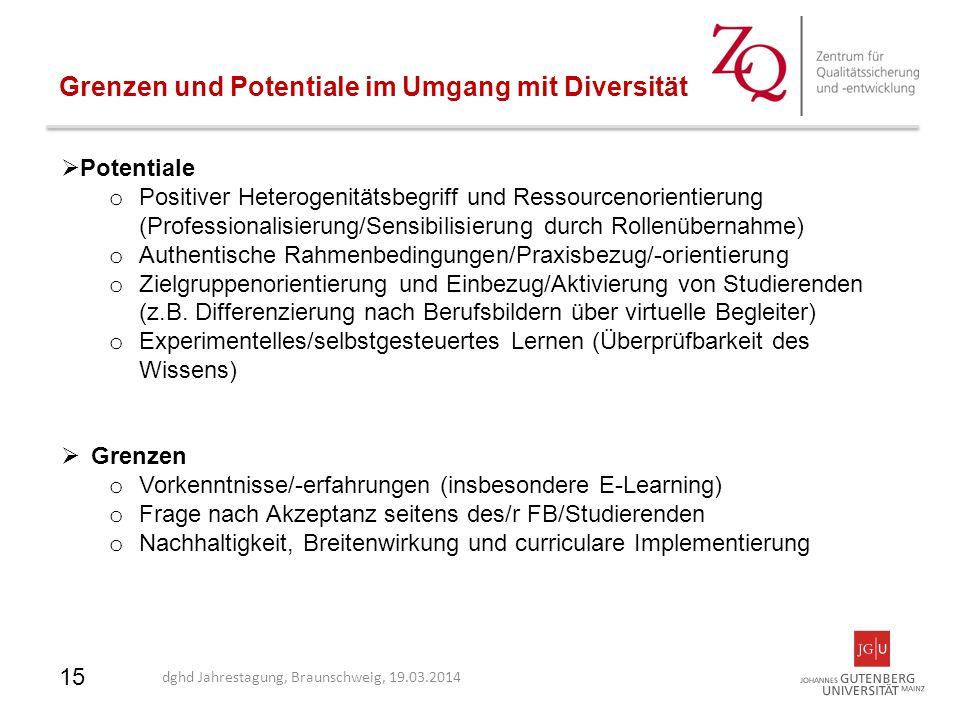 15 Grenzen und Potentiale im Umgang mit Diversität  Potentiale o Positiver Heterogenitätsbegriff und Ressourcenorientierung (Professionalisierung/Sen