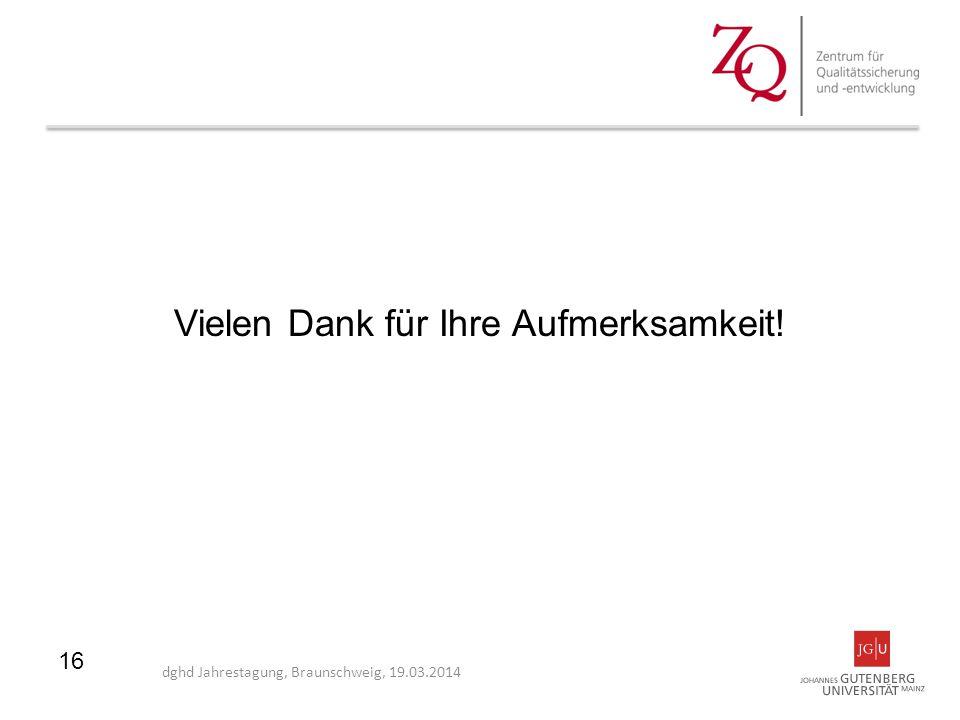 Vielen Dank für Ihre Aufmerksamkeit! dghd Jahrestagung, Braunschweig, 19.03.2014 16