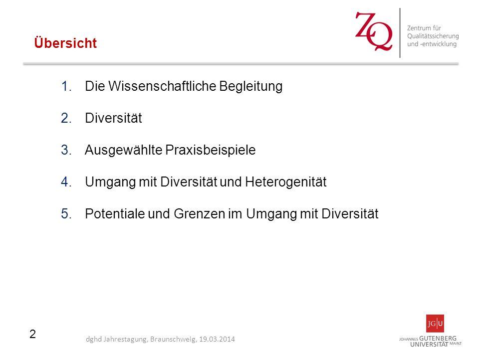 2 1.Die Wissenschaftliche Begleitung 2.Diversität 3.Ausgewählte Praxisbeispiele 4.Umgang mit Diversität und Heterogenität 5.Potentiale und Grenzen im