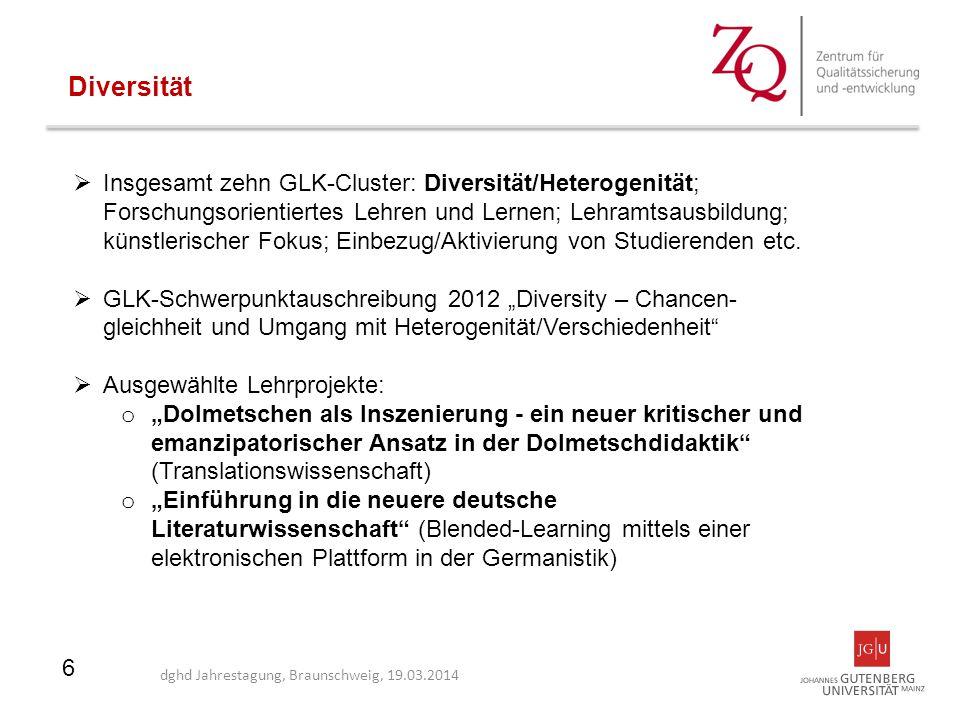 6  Insgesamt zehn GLK-Cluster: Diversität/Heterogenität; Forschungsorientiertes Lehren und Lernen; Lehramtsausbildung; künstlerischer Fokus; Einbezug