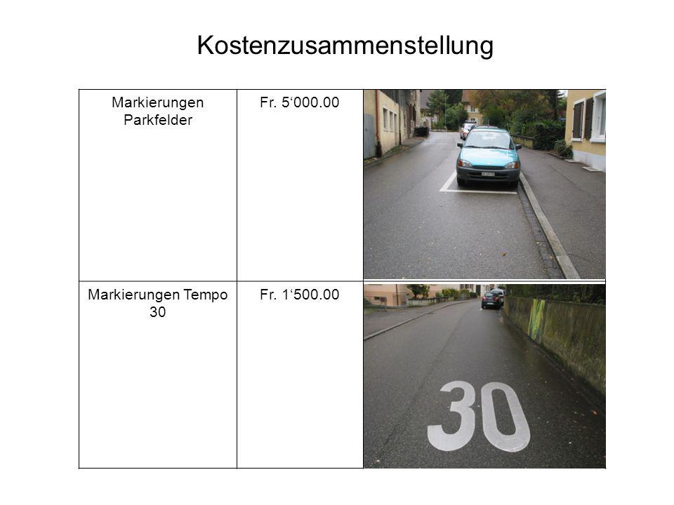 Markierungen Parkfelder Fr. 5'000.00 Markierungen Tempo 30 Fr. 1'500.00 Kostenzusammenstellung