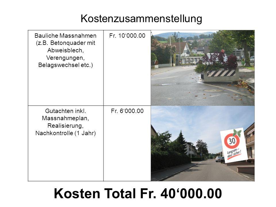 Bauliche Massnahmen (z.B. Betonquader mit Abweisblech, Verengungen, Belagswechsel etc.) Fr.