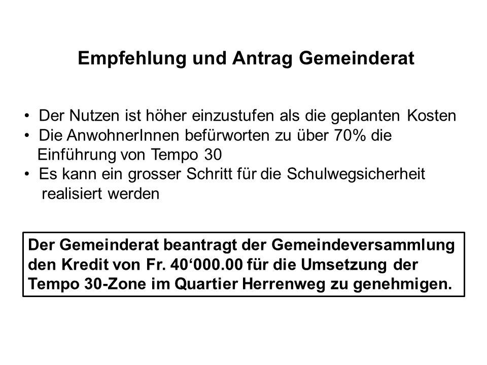Empfehlung und Antrag Gemeinderat Der Gemeinderat beantragt der Gemeindeversammlung den Kredit von Fr.