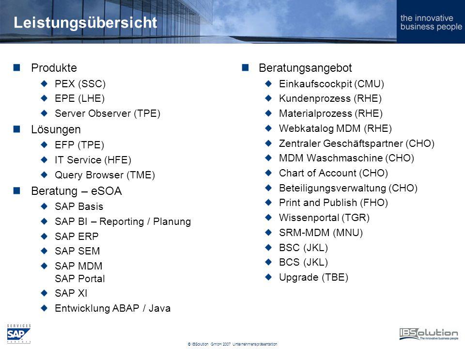 © IBSolution GmbH 2007 Unternehmenspräsentation Leistungsübersicht Produkte PEX (SSC) EPE (LHE) Server Observer (TPE) Lösungen EFP (TPE) IT Service (HFE) Query Browser (TME) Beratung – eSOA SAP Basis SAP BI – Reporting / Planung SAP ERP SAP SEM SAP MDM SAP Portal SAP XI Entwicklung ABAP / Java Beratungsangebot Einkaufscockpit (CMU) Kundenprozess (RHE) Materialprozess (RHE) Webkatalog MDM (RHE) Zentraler Geschäftspartner (CHO) MDM Waschmaschine (CHO) Chart of Account (CHO) Beteiligungsverwaltung (CHO) Print and Publish (FHO) Wissenportal (TGR) SRM-MDM (MNU) BSC (JKL) BCS (JKL) Upgrade (TBE)