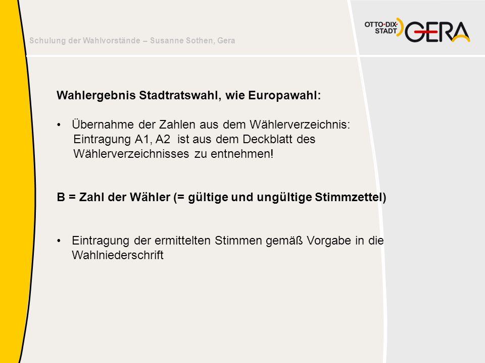 Schulung der Wahlvorstände – Susanne Sothen, Gera Wahlergebnis Stadtratswahl, wie Europawahl: •Übernahme der Zahlen aus dem Wählerverzeichnis: Eintrag