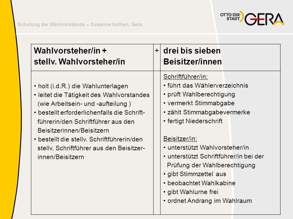 Schulung der Wahlvorstände – Susanne Sothen, Gera Wahlvorsteher/in + stellv. Wahlvorsteher/in + drei bis sieben Beisitzer/innen • holt (i.d.R.) die Wa