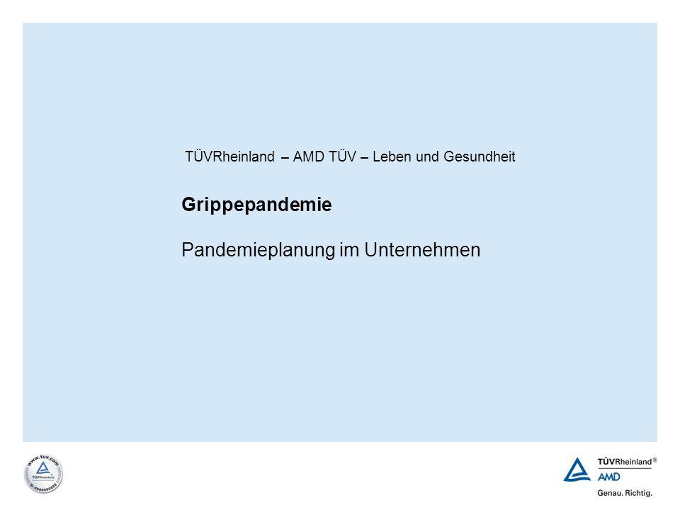 | 42AMD TÜV Arbeitsmedizinische Dienste GmbH Vereinfachte Übersicht über die WHO-Phasen Interpandemic periodInterpandemische Periode Phase 1Kein neuer Virustyp Phase 2Tier-Mensch-Übertr.
