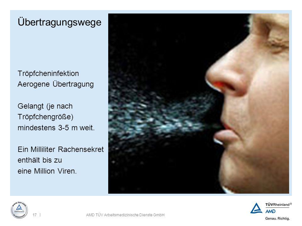 | 17AMD TÜV Arbeitsmedizinische Dienste GmbH Übertragungswege Tröpfcheninfektion Aerogene Übertragung Gelangt (je nach Tröpfchengröße) mindestens 3-5