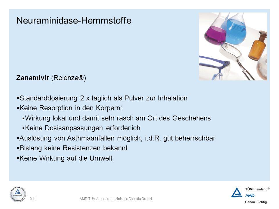 | 31AMD TÜV Arbeitsmedizinische Dienste GmbH Neuraminidase-Hemmstoffe Zanamivir (Relenza®)  Standarddosierung 2 x täglich als Pulver zur Inhalation 