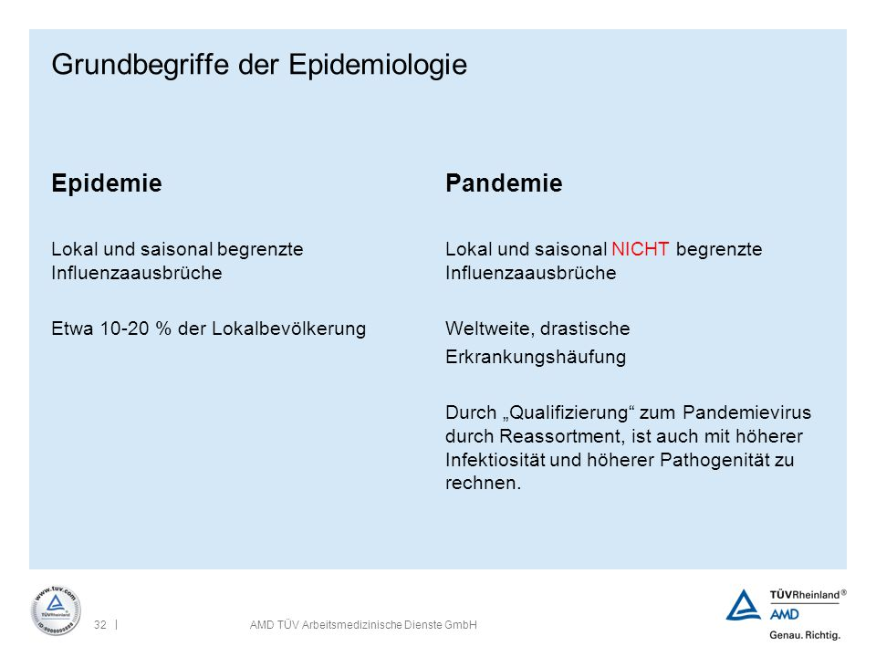 | 32AMD TÜV Arbeitsmedizinische Dienste GmbH Grundbegriffe der Epidemiologie Epidemie Lokal und saisonal begrenzte Influenzaausbrüche Etwa 10-20 % der
