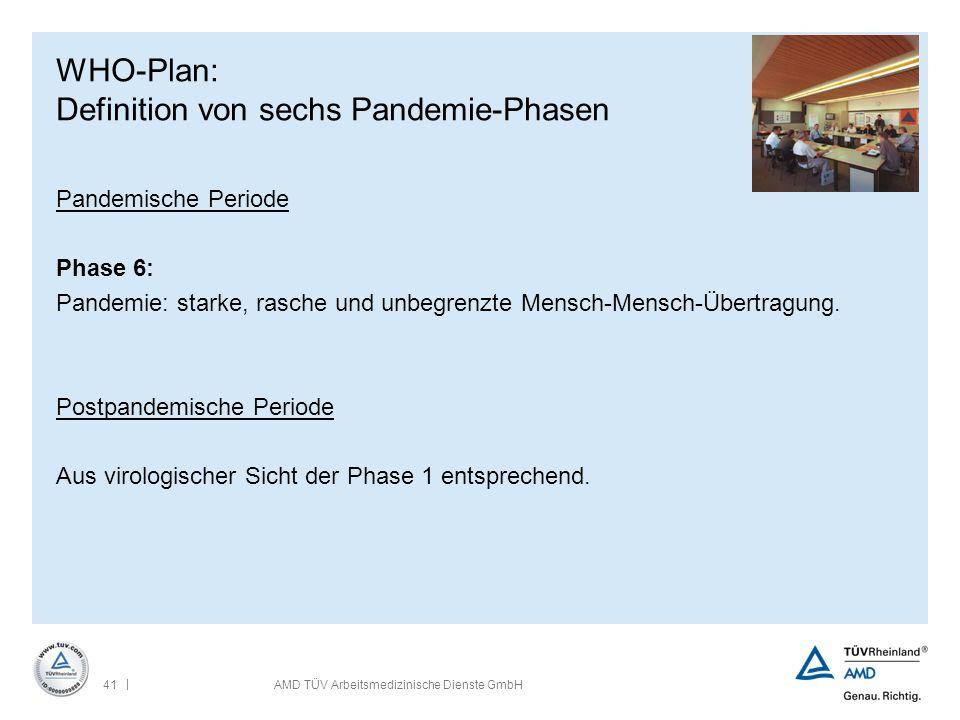 | 41AMD TÜV Arbeitsmedizinische Dienste GmbH WHO-Plan: Definition von sechs Pandemie-Phasen Pandemische Periode Phase 6: Pandemie: starke, rasche und