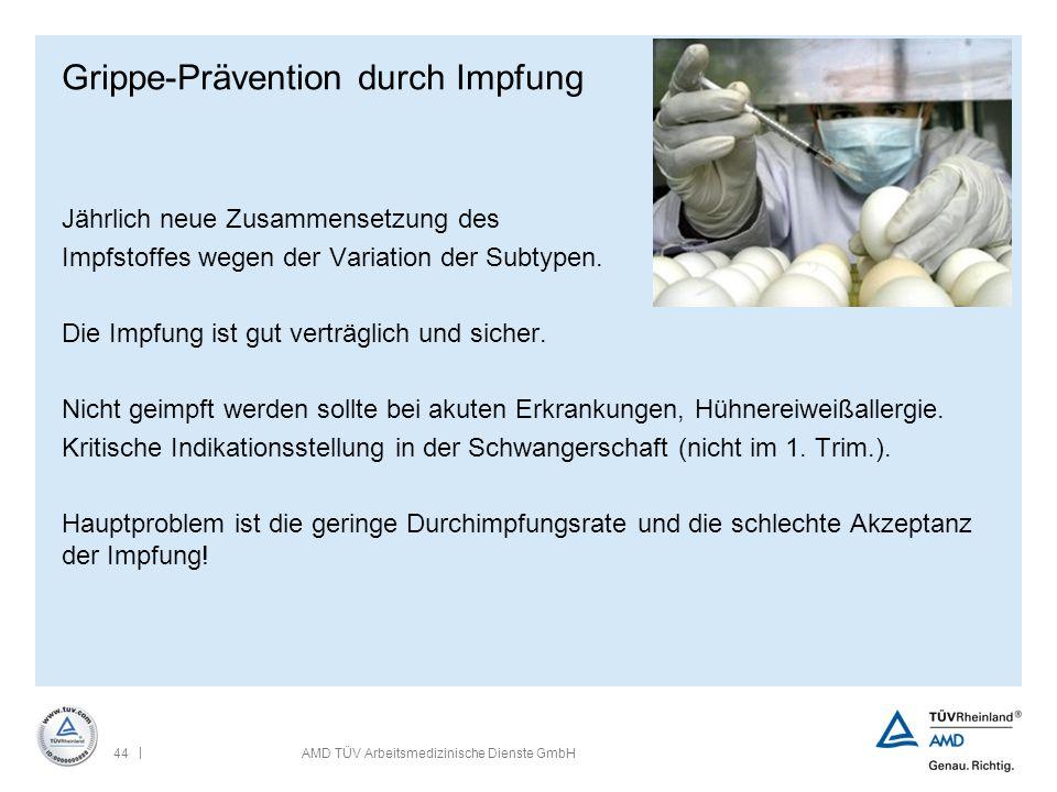 | 44AMD TÜV Arbeitsmedizinische Dienste GmbH Grippe-Prävention durch Impfung Jährlich neue Zusammensetzung des Impfstoffes wegen der Variation der Sub