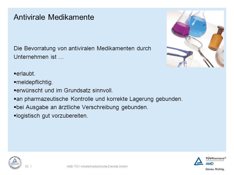| 53AMD TÜV Arbeitsmedizinische Dienste GmbH Antivirale Medikamente Die Bevorratung von antiviralen Medikamenten durch Unternehmen ist …  erlaubt. 