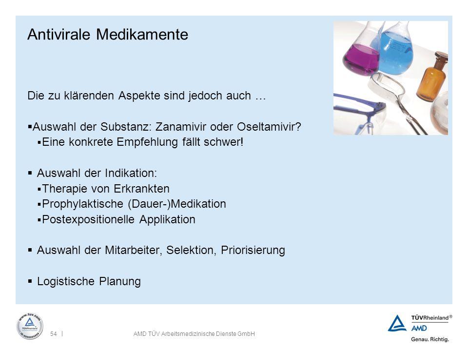 | 54AMD TÜV Arbeitsmedizinische Dienste GmbH Antivirale Medikamente Die zu klärenden Aspekte sind jedoch auch …  Auswahl der Substanz: Zanamivir oder