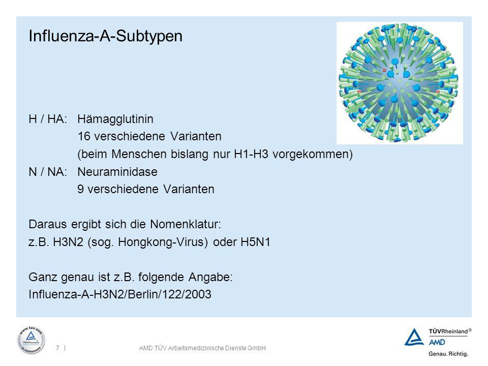 | 8AMD TÜV Arbeitsmedizinische Dienste GmbH Influenza-A-Subtypen H / HA:Hämagglutinin 16 verschiedene Varianten (beim Menschen bislang nur H1-H3 vorgekommen) N / NA: Neuraminidase 9 verschiedene Varianten Daraus ergibt sich die Nomenklatur: z.B.