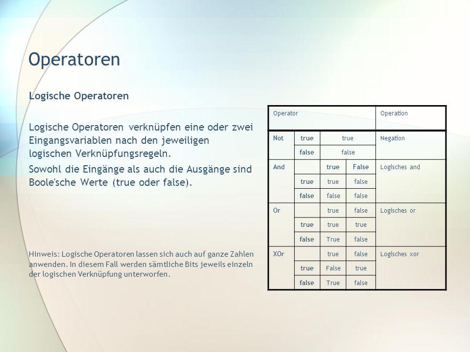 Operatoren Logische Operatoren Logische Operatoren verknüpfen eine oder zwei Eingangsvariablen nach den jeweiligen logischen Verknüpfungsregeln. Sowoh