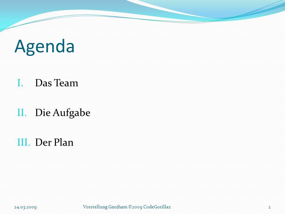 Agenda I.Das Team II.Die Aufgabe III.Der Plan 24.03.20092Vorstellung Gnojham ©2009 CodeGorillaz