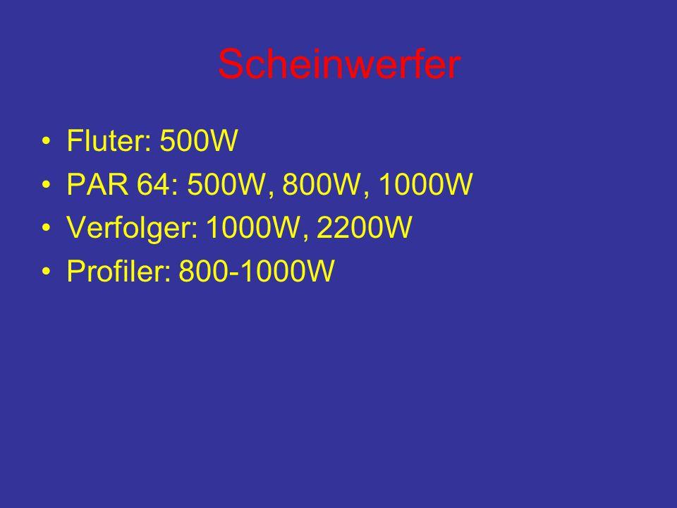 Scheinwerfer •Fluter: 500W •PAR 64: 500W, 800W, 1000W •Verfolger: 1000W, 2200W •Profiler: 800-1000W