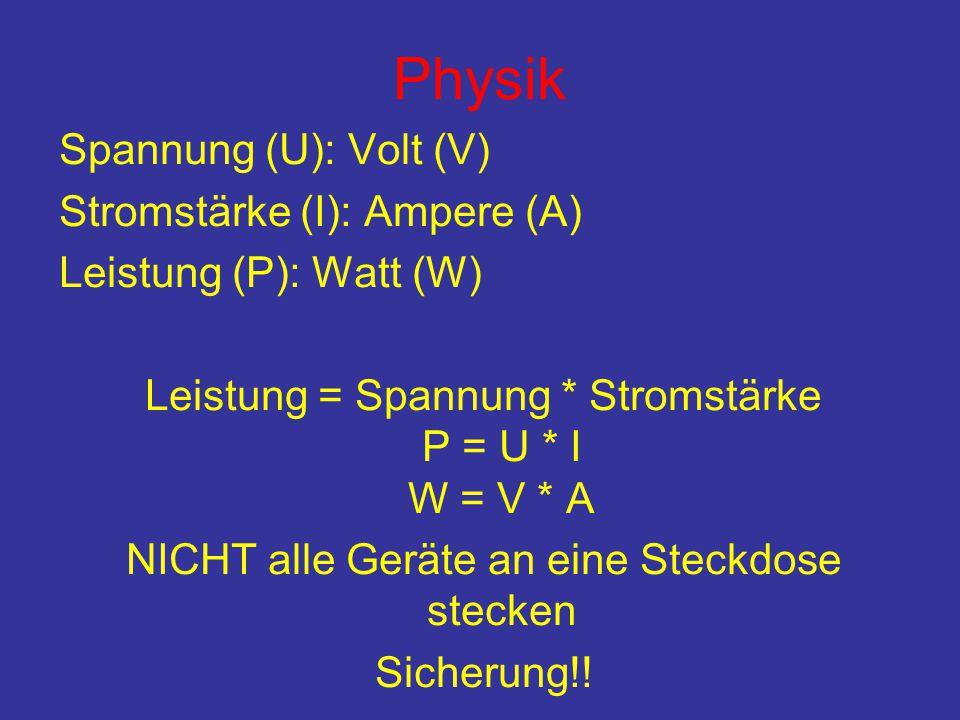 Physik Spannung (U): Volt (V) Stromstärke (I): Ampere (A) Leistung (P): Watt (W) Leistung = Spannung * Stromstärke P = U * I W = V * A NICHT alle Geräte an eine Steckdose stecken Sicherung!!